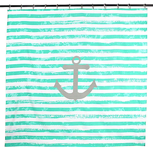 (Coastal Collection Anchor Stripe Fabric Shower Curtain: Bright Aquamarine Distressed Stripes with Grey Anchor on White Background)