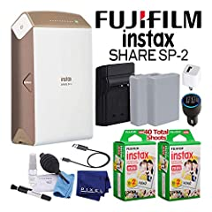 Product Overview:The Gold Fujifilm Instax Share Smartphone Printer SP-2 allows you to print photos shot with a smartphone or tablet using Fujifilm's free downloadable Instax Share app for Android and iOS. Select your best shots from your smar...