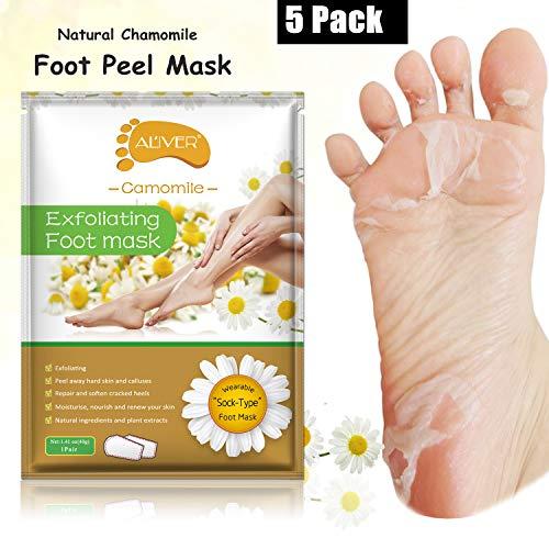 Foot Peel Mask 5 Pack, Foot Exfoliator Natural Peeling Away Calluses and Dead Skin Cells, Make Your Feet Baby Soft, Repair Rough Heels- Foot Peel Gel Socks Baby Your Feet in A Week - Chamomile ()