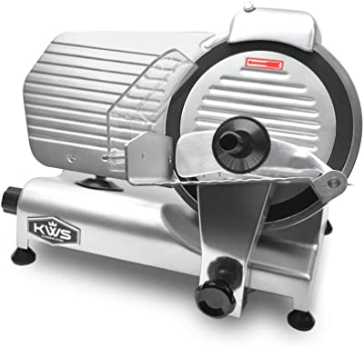 KWS MS-10NT Premium Commercial 320W Electric Meat Slicer 10-Inch with Non-sticky Teflon Blade, Frozen Meat/Deli Meat/Cheese/Food Slicer Low Noise Commercial and Home Use [ ETL, NSF Certified ]