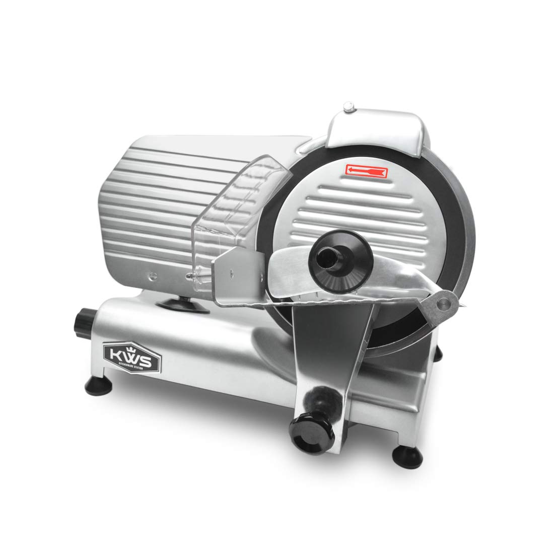 "KWS Premium Commercial 320w Electric Meat Slicer 10"" with Non-sticky Teflon Blade, Frozen Meat/Cheese/Food Slicer Low Noises Commercial and Home Use"