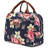LOKASS Lunch Bag Cooler Bag Women Tote Bag Insulated Lunch Box Water-resistant Thermal Lunch Bag Soft Leak Proof Liner Lunch Bags for women/Picnic/Boating/Beach/Fishing/School/Work (Peony)