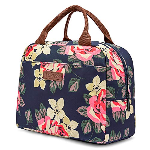 LOKASS Lunch Bag Cooler Bag Women Tote Bag Insulated Lunch Box Water-resistant Thermal Lunch Bag Soft Leak Proof Liner Lunch Bags for women/Picnic/Boating/Beach/Fishing/School/Work (Peony) by LOKASS