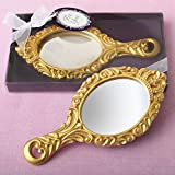 24 Fashioncraft Sturdy Polyresin Oval Shape Matte Gold 'Make It Royal' Princess Hand Mirror Wedding Anniversary Bridal Shower Baby Shower Birthday Party Souvenir Favors