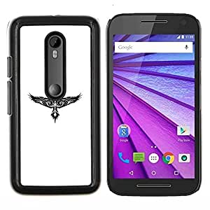 YiPhone /// Prima de resorte delgada de la cubierta del caso de Shell Armor - Modelo tribal del tatuaje del halcón de Eagle - Motorola MOTO G3 / Moto G (3nd Generation)