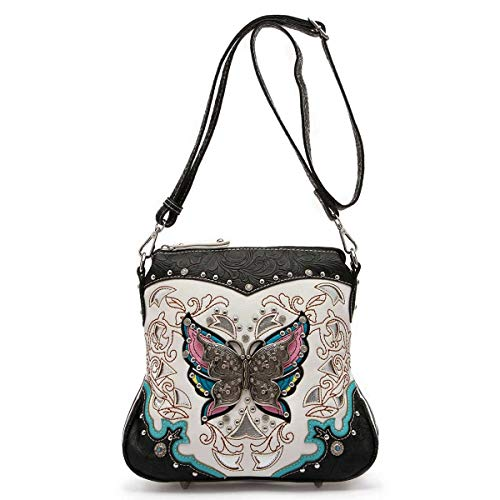 Western Tooled Leather Purse - Western Style Butterfly Tooled Leather Women Purse Cross Body Handbag Concealed Carry Single Shoulder Bag (Black)