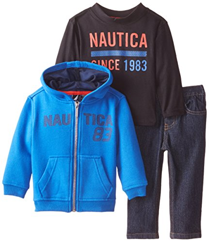 Nautica Baby Boys' 3 Piece Hoody Fleece Long Sleeve Tee Denim Pant Set