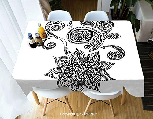 Rectangular tablecloth Flowers and Paisley Doodle Tattoo Pattern