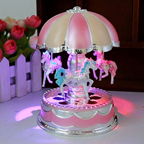 Efaster Crowned Carousel Music Box Merry-Go-Round Light Christmas Birthday Gift for Kids and Adult Childhood Memories (Pink)