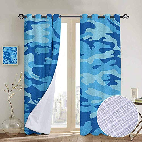 NUOMANAN Curtains for Bedroom Camouflage,Abstract Camouflage Costume Concealment from The Enemy Hiding Pattern, Pale Blue Navy Blue,Darkening and Thermal Insulating Draperies 54