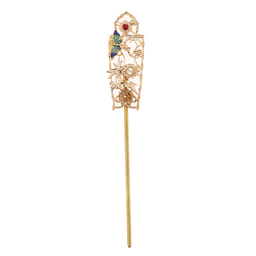 SM SunniMix Chinese Wedding Japanese Hair Pin Stick Forks Filigree Flower Accessories