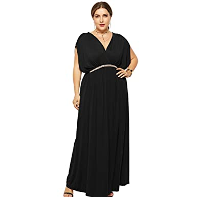 ba1956538ebb7 Desirepath Ladies Dress Plus Size Formal Empire Waist Sexy V Neck ...