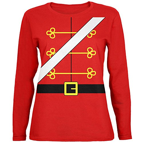 Christmas Toy Soldier Nutcracker Costume Womens Long Sleeve T Shirt Red SM ()