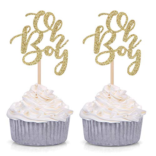 Giuffi Set of 24 Golden Oh Boy Cupcake Toppers Party Decors Baby Shower Decors -