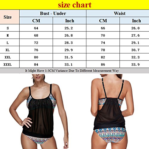 Zhhlaixing Women Floral Prints Tankini Set Swimsuits Beachwear Bathing Suit Tow Piece Padded Bikini LS1323 Black
