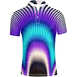HUGS IDEA Novelty Summer Colorful Men's Short Sleevee Polos Shirt Tees Tops T-Shirts