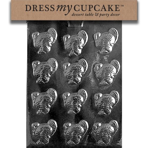Dress My Cupcake DMCT003 Chocolate Candy Mold, Small Turkeys, (Turkey Candy Mold)