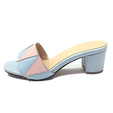 4f827df65c3562 ANNIESHOE Leder Pantoletten Sandalen Damen Mit Absatz Sommer Blau 24.5cm