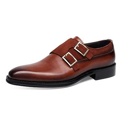 SHOESDQ Chaussures habillées en Cuir à Double lanière pour
