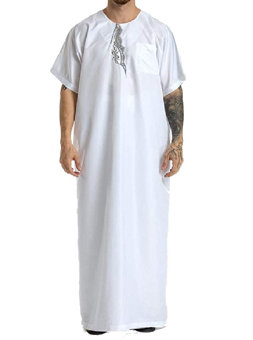 HEFASDM Men Short Sleve Islamic Thawb Relaxed-Fit Muslim Embroidery Shirt