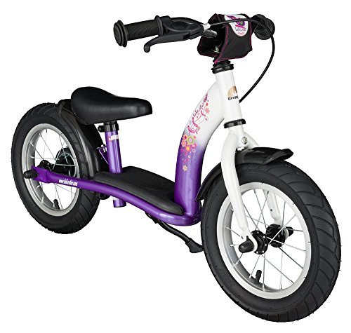 BIKESTAR Original Safety Lightweight Kids First Balance Running Bike with brakes and with air tires for age 3 year old boys and girls | 12 Inch Classic Edition | Candy Purple