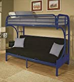 Eclipse Twin Over Full Futon Bunk Bed, Blue with Full-Size Futon Mattress and Quilted Top Bunk Bed Mattress