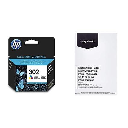 HP 302 F6U65AE - Cartucho de tinta para impresoras (4 ml), tri-color & AmazonBasics Papel multiusos para impresora A4 80gsm, 1 paquete, 500 hojas, ...