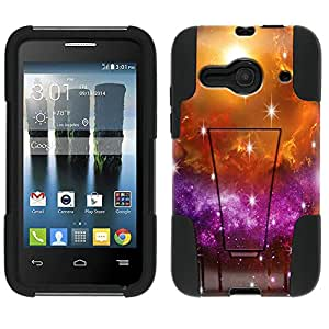 Alcatel One Touch Evolve 2 Hybrid Case Nebula Yellow Purple 2 Piece Style Silicone Case Cover with Stand for Alcatel One Touch Evolve 2