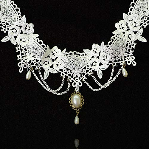 Bridal Wedding White Lace Beads Choker Victorian Steampunk Collar Necklace Jewelry Crafting Key Chain Bracelet Pendants Accessories Best