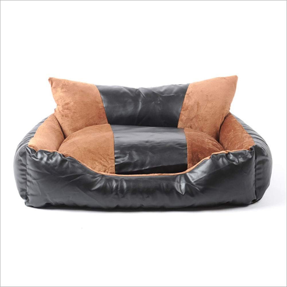 Medium Dog Bed Rest Sofa pet Bed Removable wash pu Leather Bed, Large, Brown,M