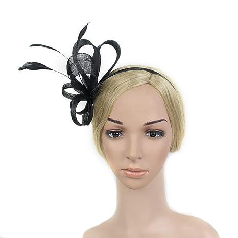 Fascinators delle donne Cappello Fiore Mesh Feathers Fascia copricapo  Accessori per capelli per il giorno delle aa309ddc517e