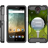 TurtleArmor | Compatible for ZTE AVID Plus Case | ZTE AVID Trio Case [Armor Pro] Heavy Duty Full Body Kickstand Holster Belt Clip Armor Case Sports and Games Design - Golf Ball Tee