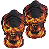 3D Headwear Face Mask - 2PCS Sports Headband,Magic Scarf,Balaclava, Bandana (2Yellow Flame Skull)