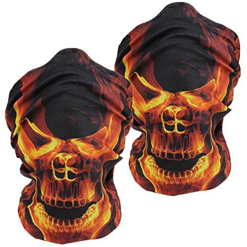 Flame Bandana (3D Headwear Face Mask - 2PCS Sports Headband,Magic Scarf,Balaclava, Bandana (2Yellow Flame Skull))