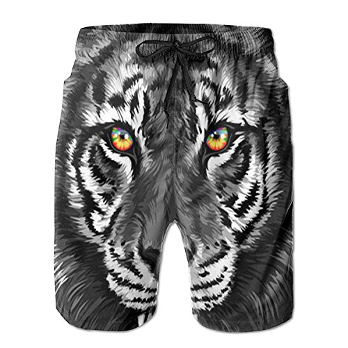 Men's Beach Shorts Swim Trunks Black Tiger Head Board Shorts with Pockets