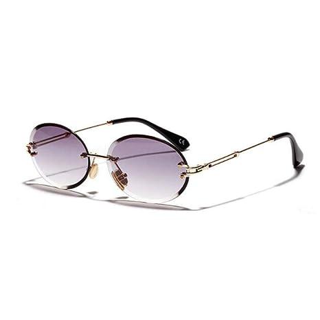 Yangjing-hl Gafas de Sol ovales Retro sin Marco Gris marrón ...
