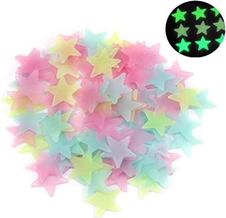 Blue Wendy Mall 100pcs 3D Stars Glow in Dark Luminous Fluorescent Plastic Wall Sticker for Kids Baby Room Bedroom Ceiling Home Decor