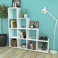 SKB Family Staircase Bookcase/Display Shelf 55.9 White New Bookshelf Organizer Furniture