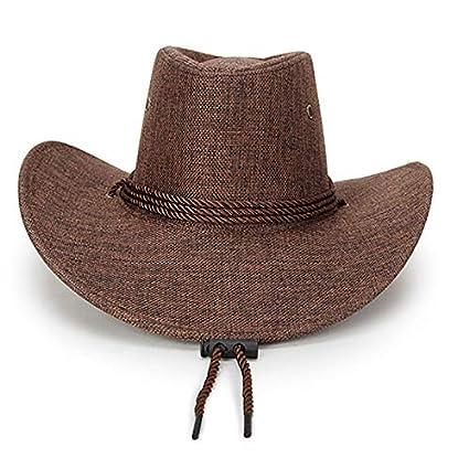 Daliuing 1 Pieza Gorro de Verano de Primavera para Hombres Sombrero de Sol de Lino de sombrilla Sombrero de Vaquero Occidental de Moda-Beige