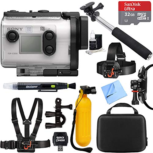 (Sony FDR-X3000 4K Wi-Fi GPS Action Camera with Balanced Optical SteadyShot + 32GB Outdoor Adventure Mounting Bundle )