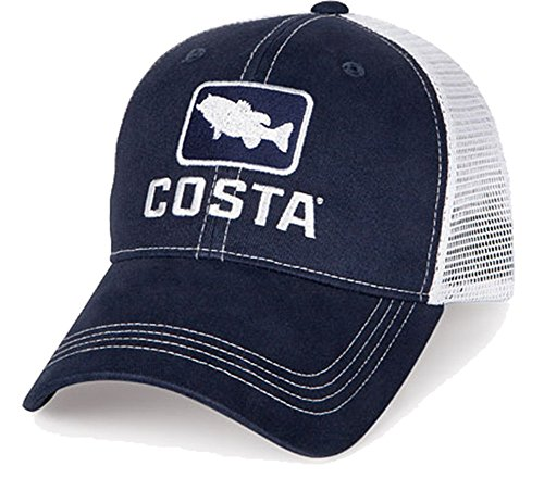 Costa Del Mar Bass Trucker Hat, Navy/White, X-Large