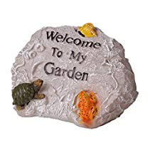 Decoración de jardines Detalles De La Estatuilla Del Jardín De Bienvenida De Rockery De Resina Bellamente Diseñados For La Oficina En El Hogar Jardín Al Aire Libre Villa 18x25x17cm Adecuado para jardí