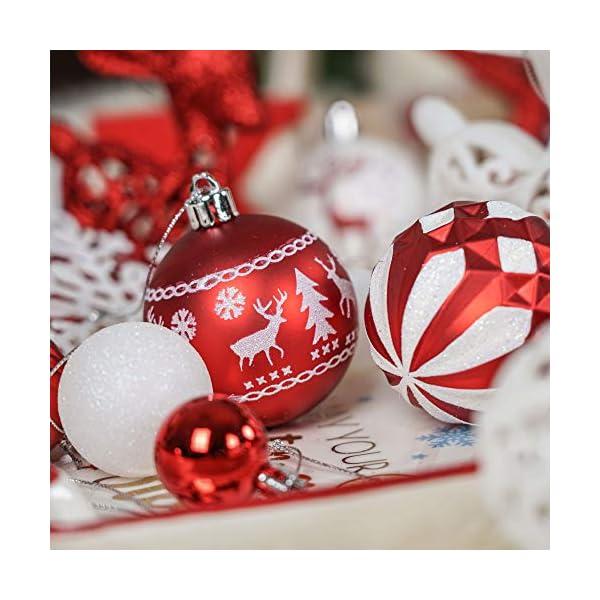 Victor's Workshop Addobbi Natalizi 100 Pezzi di Palline di Natale, Oh Cervo Rosso e Bianco Infrangibile Ornamenti di Palla di Natale Decorazione per la Decorazione Dell'Albero di Natale 6 spesavip