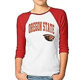Colosseum Oregon State Beavers Arch Logo Ladies' 3/4 Sleeve Raglan Tee Shirts Cotton Red