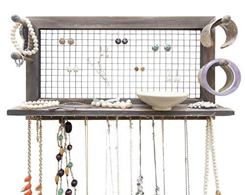 Jewelry Organizer with Bracelet Holder Pegs (Rustic)