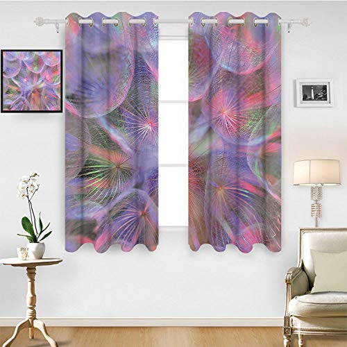 SATVSHOP Patterned Drape for Glass Door - 55W x 45L Inch-Waterproof Window Curtain.Psychedelic Nature Theme Dandelion Flower with Digital Effects Artwork Pink Lavender and Mauve.