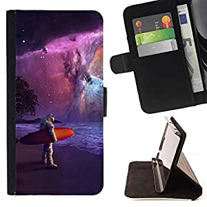 For Sony Xperia Z3 D6603 Cool Astronaut Surfer Painting Beautiful Print Wallet Leather Case Cover With Credit Card Slots And Stand Function