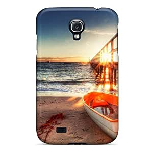 High-quality Durability Case For Galaxy S4(little Row Boat Tied To Sea Pier At Sunrise Hdr) by lolosakes