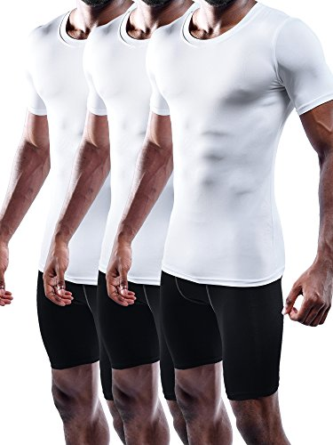 Neleus Men's 3 Pack Compression Shirts,5011,White,XL,EUR 2XL (Make Me A Priority Not An Option)