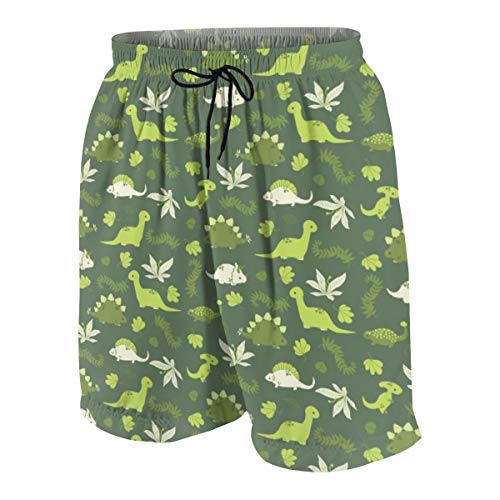 Pullma Mens Beach Shorts, Dinos Quick Dry Swim Trunks, Summer Board Shorts with Pockets for Teenager Boys White
